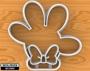 Minnie Mouse Hand with Bow Cookie Cutter, Selectable sizes.