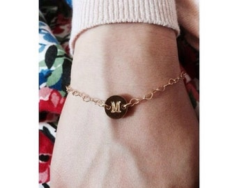 Bracelet with Initial and chain with small hearts