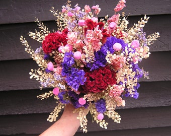 Dried Wedding Bouquet, Bridesmaids Bouquets, Country Bundle of Dried Flowers, Rustic Field Flowers, Outside Wedding, Wild Flowers
