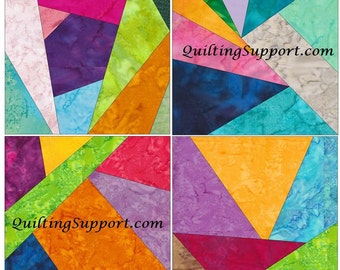 Crazy Patch Set 8 Paper Foundation Piecing Quilting 4 Block Patterns PDF