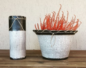 Couple raku vessels