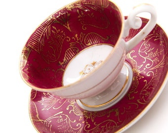 Vintage Rossetti Ceramic Maroon and Gold Teacup and Saucer