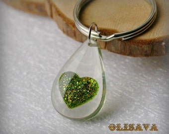 Resin Keyring with heart , glitter  Resin Keychain , Heart Keychain