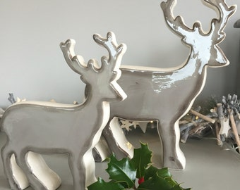 Ceramic Christmas reindeer in grey. Christmas decoration