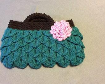 Crochet mermaid tears clutch
