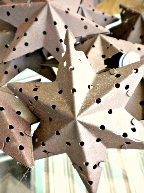 Rustic Metal String Lights : Rustic Farmhouse Star Punched Metal Star Ornaments Moravian