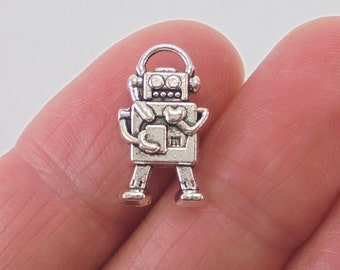7 pc. Robot charm, 17x10mm, antique silver finish