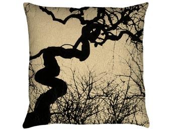 Mozartgrab Printed Throw Pillow. Cushion Cover, Apartment and Dorm Decor, Sofa Cushion, Halloween, Tree Silhouette, Gothic, Cobwebs, Scary