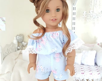 18 inch doll floral romper.