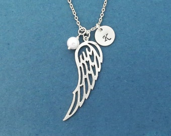 Personalized, Letter, Initial, Disc, Pearl, Angel wing, Gold, Silver, Necklace, Birthday, Lovers, Best friends, Sister, Gift, Jewelry