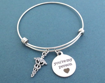 Medical, Insignia, You're my person, Silver, Bangle, Bracelet, Grey's, Bangle, Gift, Jewelry