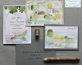 Wedding Invitation Suite - Watercolor Invitations - Wedding Custom Map - Maryland Wedding - Barn Wedding