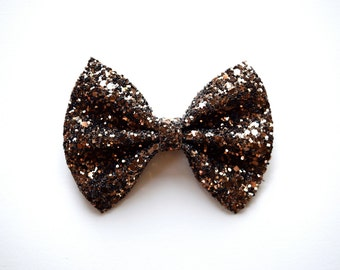 Mocha Brown Glitter Bow for Newborn Baby Little Girl Child Adult Beautiful Adorable Hall Holiday Bow Photo Prop Pictures