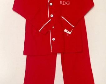 Boys personalized Christmas pajamas / boys red monogrammed Christmas / youth knit lounge set / old man PJs / red lounge set with monogram