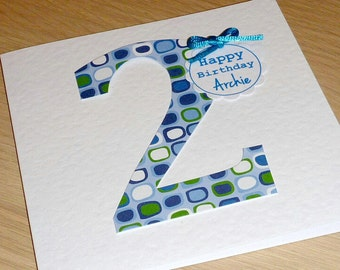 Personalised Boys OR Girls Birthday card - ANY age - 1st 2nd 3rd 13th 16th 18th  21st - custom made handmade greeting card - kids or adults