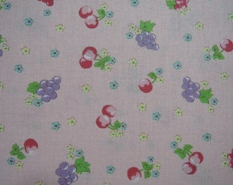 """Half Yard of Yuwa Sunday 9am Cherries, Grapes and Floral Fabric on Pink Background. Approx . 18"""" x 44"""""""