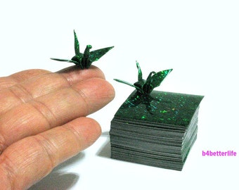 "200 Sheets 1.5"" x 1.5"" GREEN Color DIY Chiyogami Yuzen Paper Folding Kit for Origami Cranes ""Tsuru"". (4D Glittering paper series)."
