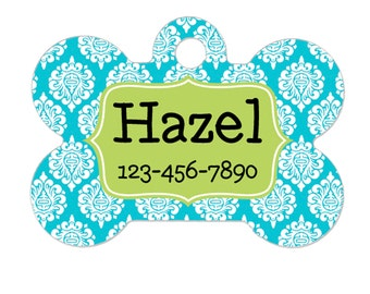 Personalized Dog Name Tag - Dog ID Tag - Aqua Lime Custom Dog Collar Tag - Dog Tag Damask Pattern