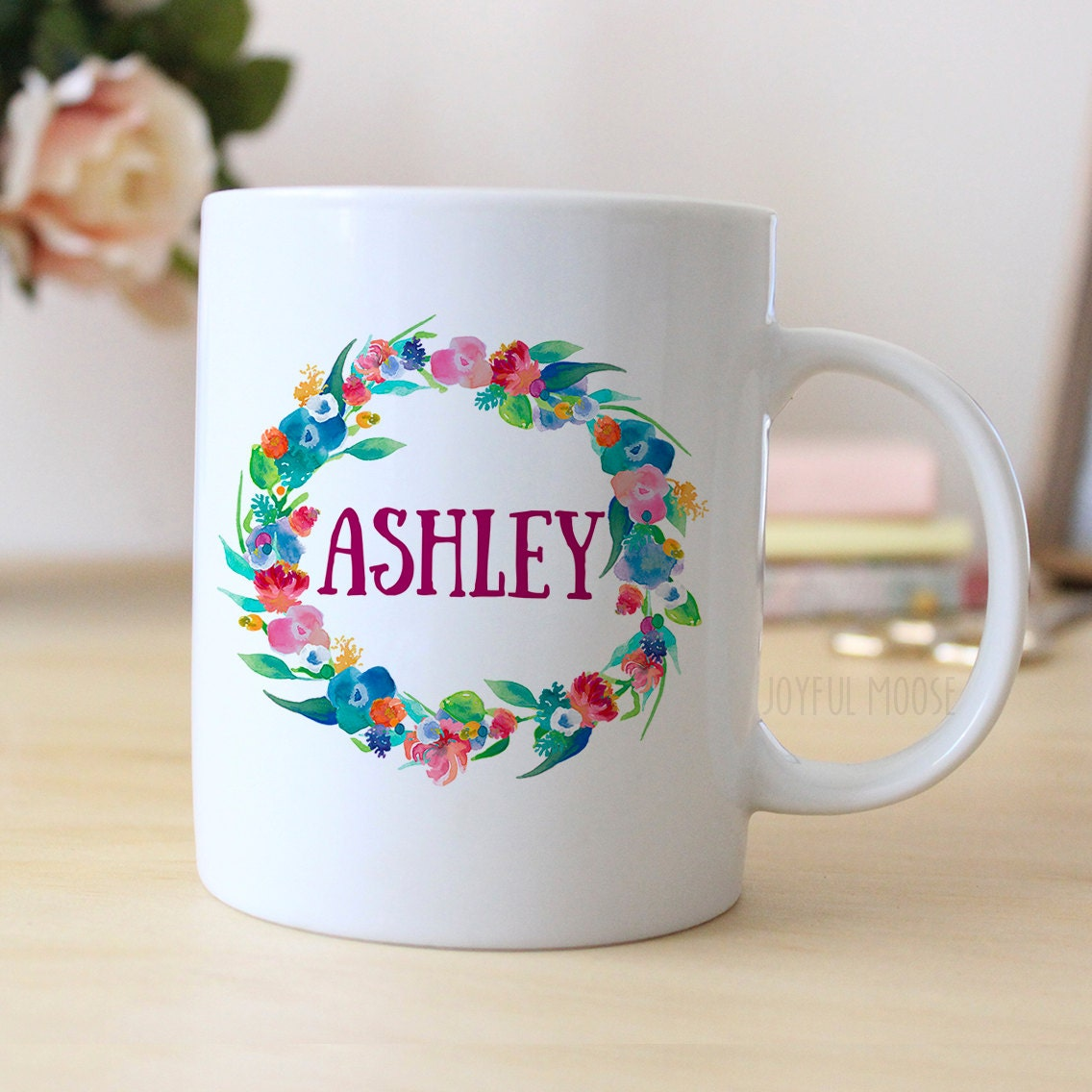 floral watercolor personalized mug personalized coffee mug. Black Bedroom Furniture Sets. Home Design Ideas