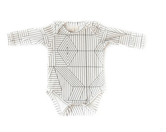 organic baby onesie, long sleeve bodysuit, cream bodysuit, baby girls onesie, organic cotton, baby shower gift, baby onesie, geometric