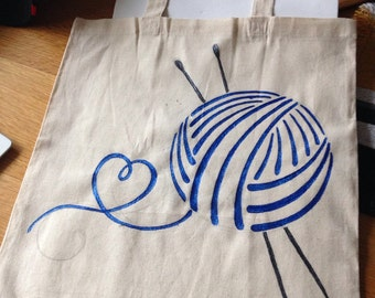 Cotton Knitting Tote Bag- SPECIAL ORDER LISTING