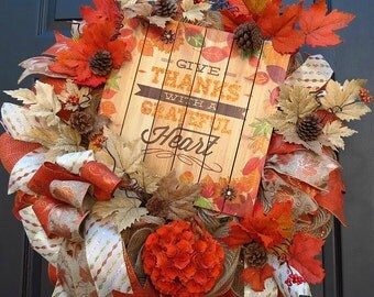 Fall Deco Mesh Wreath - Fall Wreath - Fall Front Door Wreath - Thanksgiving Wreath - Thanksgiving Deco Mesh Wreath - Mesh Wreath
