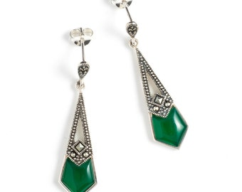 Sterling Silver Art Deco style earrings, Green Agate Marcasite Earrings, Vintage Style Silver Art Deco Earrings
