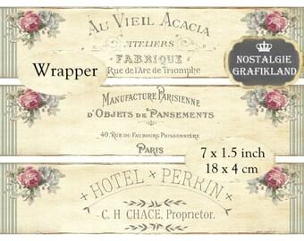 Wrapper French Vintage Label Instant Download digital collage sheet E145