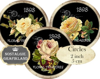 Circles 2 inch Vintage Black Flowers Instant Download digital collage sheet C217 Chalkboard Rosen