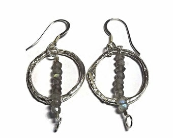 Faceted labradorite earrings sterling silver hoop earrings with beaded hoop earrings silver gemstone jewelry handmade boho earrings for her