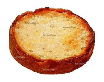 Food illustration, retro digital image, food art, kitchen art, vintage inspired, cheesecake, digital bakery, instant download, printable art