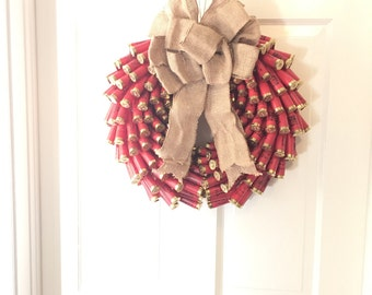 Holiday Red shotgun shell wreath
