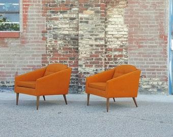 Kroehler Avante Mid Century Modern Orange Chairs is in excellent vintage condition!
