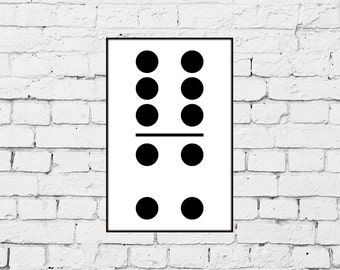 Six and Four Domino Print from Original Scandinavian Style Design
