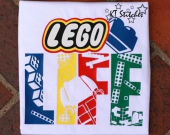 """Lego """"Life"""" t-shirt or bodysuit Personalized Bricks Legos Bright Vacation Legoland"""