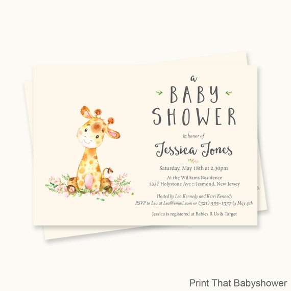 Giraffe Baby Shower Invitations Giraffe Baby Shower Printable