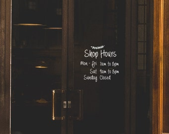 Hand writing style business hours window/door decal-small Size