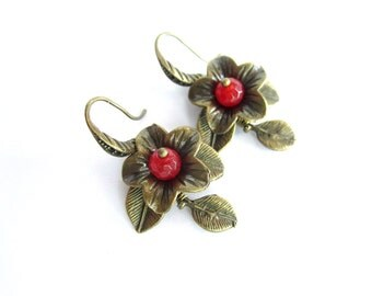 Floral earrings, agate earrings, stone dangle earrings, flower earrings, red flowers earrings, stone bronze earrings, leaf earrings