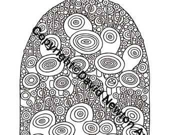 Instant PDF Download Hand Drawn Zentangle Inspired 'Mindjunk' Sheep Hill Coloring Colouring Page Zendoodle Black and White Drawing