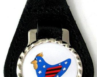 American Chicken Flag Patriotic Black Leather Key Fob Steel Ring FOB-0162