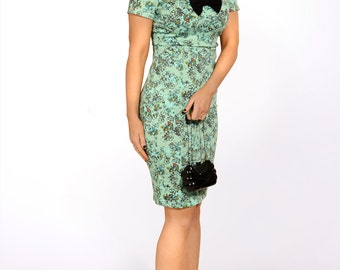 Vintage inspired 1950s style wiggle dress floral mint green print