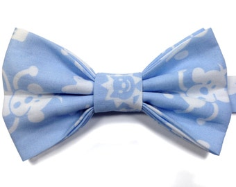 Kids Monkey Bow Tie, Blue Bow Tie for Kids, Childrens Bow Tie, Page Boy Bow Tie, Kids Blue Bow Tie, Toddler Bow Tie, Birthday Bow Tie