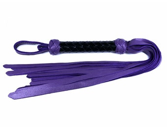Purple Leather Flogger - Black Braided Handle
