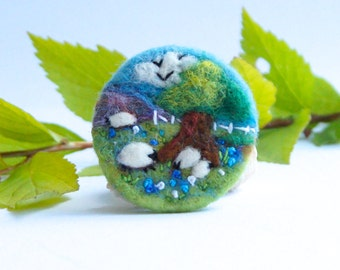 Felt Brooch, Sheep Brooch, Needle felted brooch, Landscape art, wool felt, 'Checking the twins', Fibre art, gift for her