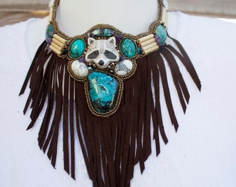 "Indian gems and leather collar ""Kwanita"""