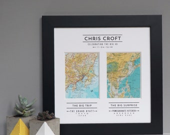 2 MAP STORY PRINT - vintage map wedding gift - personalised map print
