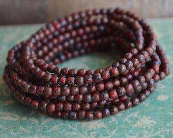 100 Dark Red Picasso Czech Druk Beads 3mm- Wild Cranberry (235-100)