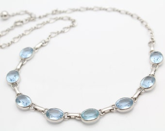"""Vintage 17.5"""" Infinity Link Necklace With Oval Blue Topaz in Sterling Silver. [10591]"""
