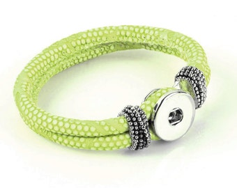Lime Genuine Leather Double Strap Braided Bracelet for Snap It Chunk Charms