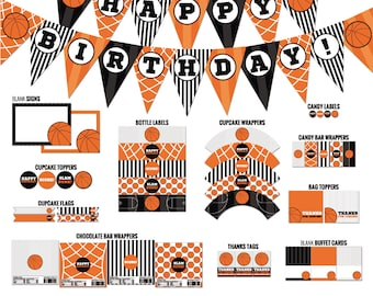 Basketball birthday party decor - Basketball printables - Sports birthday - Basketball decor - Printable PDF files.